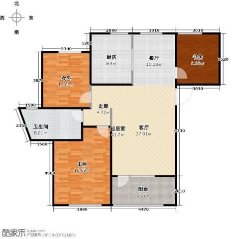 朗诗新北绿郡3室0厅1卫1厨115.00㎡户型图