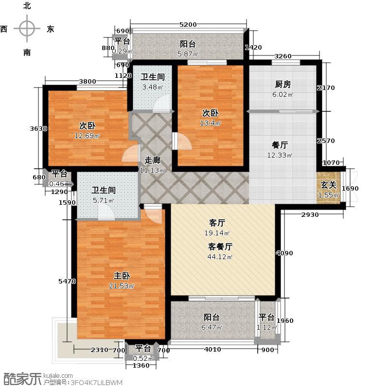 君域豪庭135.00㎡C户型3室2厅2卫-副本