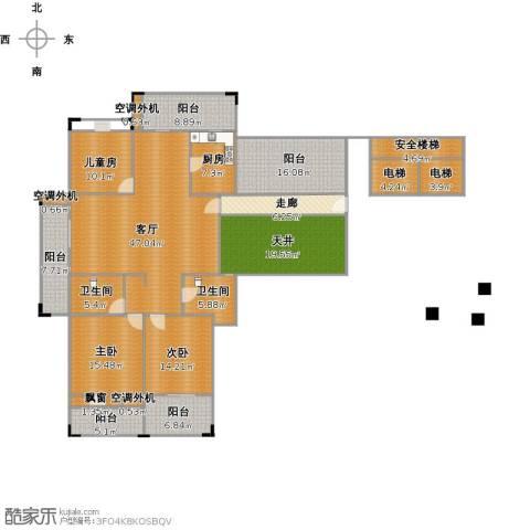 蔚兰星城3室1厅2卫1厨260.00㎡户型图
