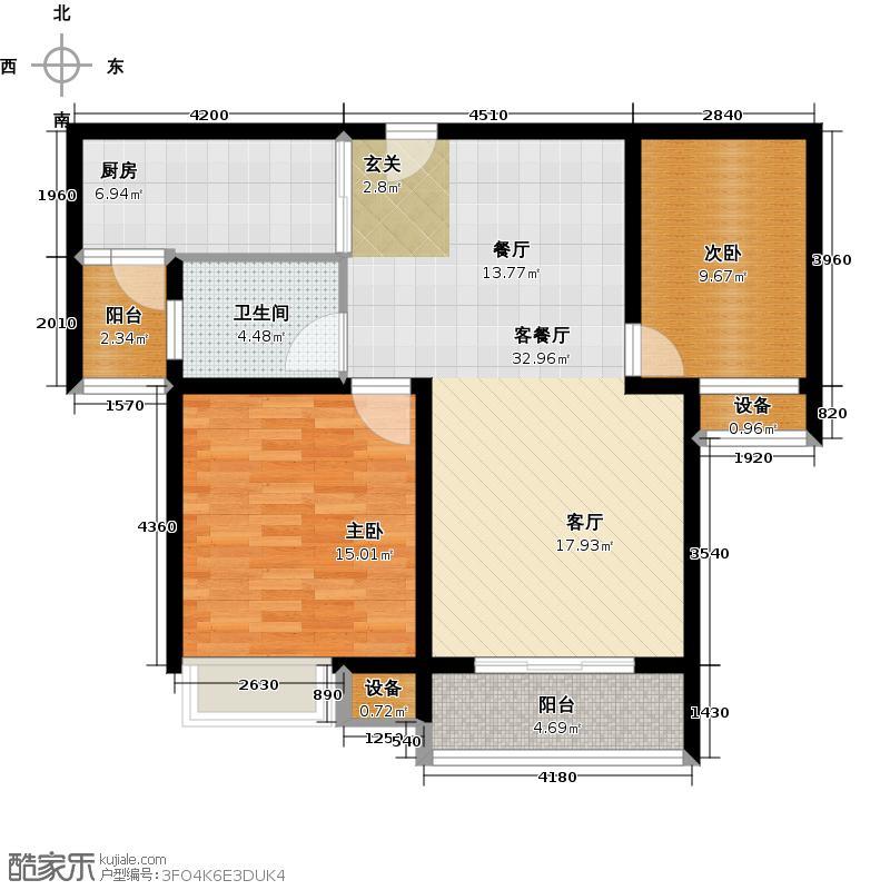 华园星城1、2、3、4、5、6、7、10#标准层B户型2室1厅1卫1厨