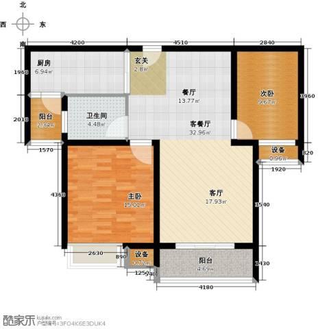 华园星城2室1厅1卫1厨88.00㎡户型图
