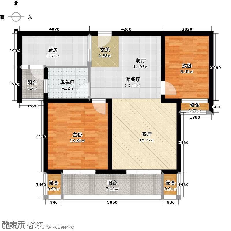华园星城88.00㎡华园星城户型图1-7#、10#B1户型(6/6张)户型2室2厅1卫