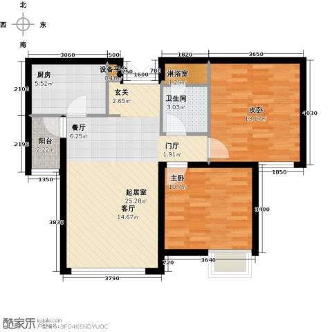 天津富力桃园2室0厅1卫1厨87.00㎡户型图