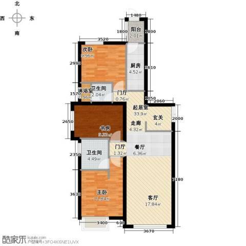 天津富力桃园3室0厅2卫1厨113.00㎡户型图