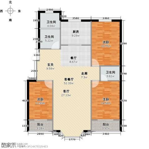 欧韵华庭3室1厅3卫1厨136.00㎡户型图