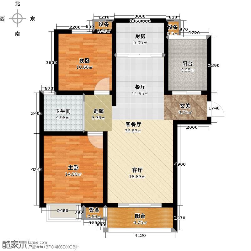 华园星城6#等标准层D1户型2室1厅1卫1厨