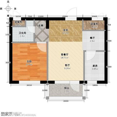 大港永安四季1室1厅1卫1厨50.00㎡户型图