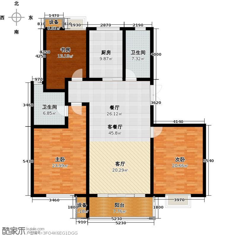 国华印象155.00㎡高层华宅D户型三室两厅两卫户型3室2厅2卫