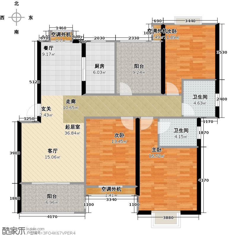 太湖富力都125.40㎡B2户型3室2厅2卫