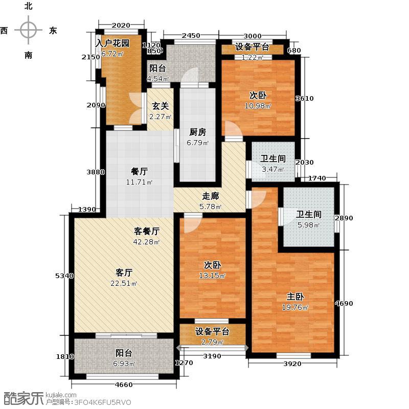 蓝石大溪地160.00㎡GH1-S花园洋房 三室两厅两卫户型3室2厅2卫