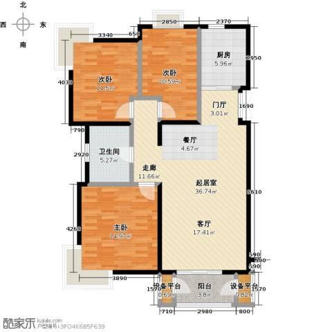 金海国际花园3室0厅1卫1厨102.00㎡户型图