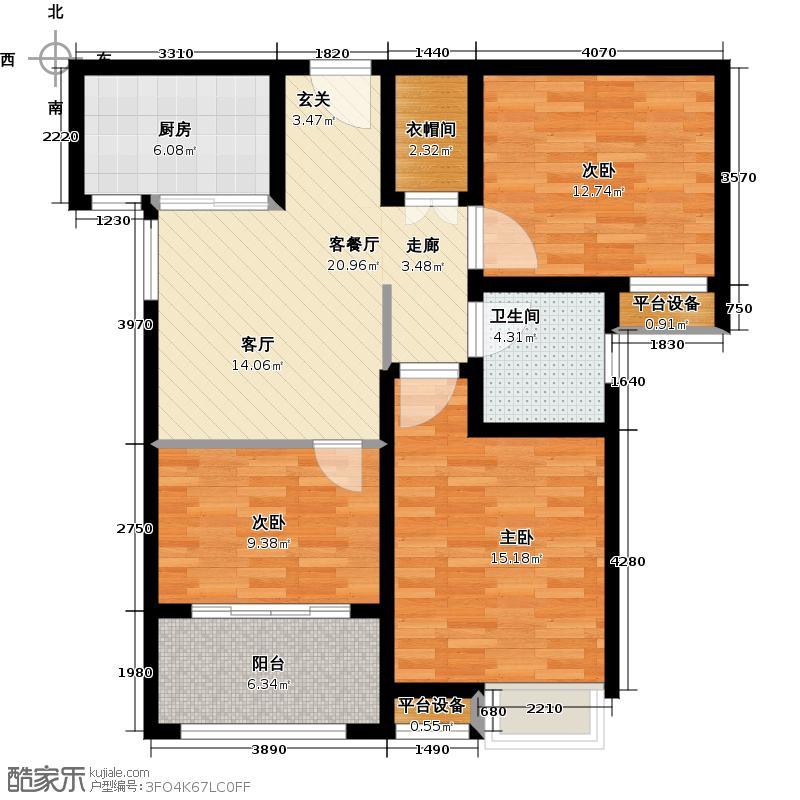 绿地国际花都92.00㎡B1户型 三房两厅一卫户型3室1厅1卫