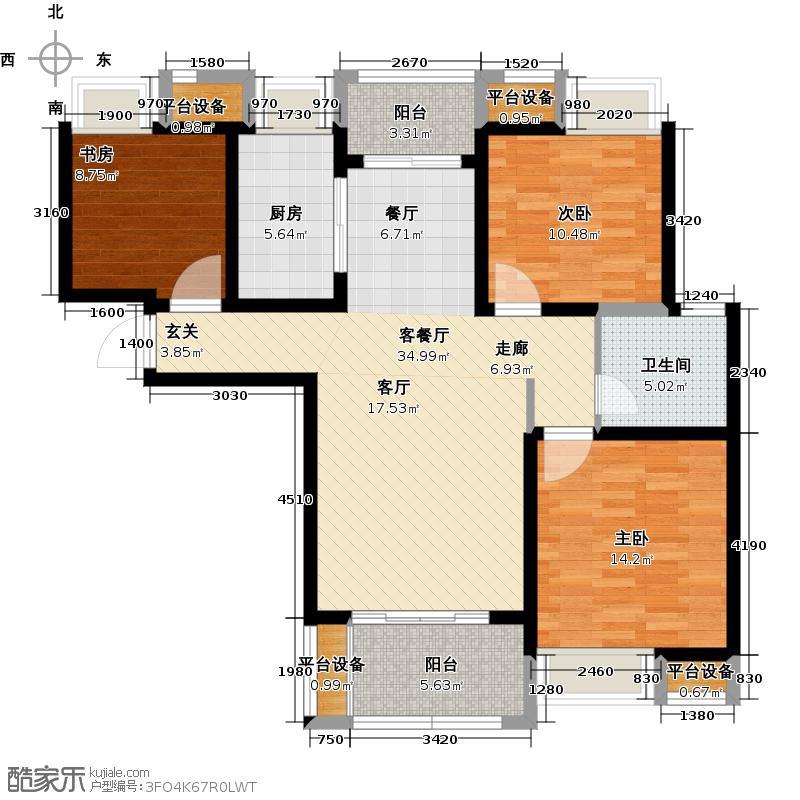 绿地国际花都花姿香屿E1户型3室2厅1卫1厨107.00㎡户型3室2厅1卫