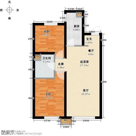 中铁万科香湖盛景2室0厅1卫1厨85.00㎡户型图