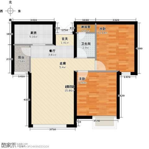 天津富力桃园2室0厅1卫1厨88.00㎡户型图
