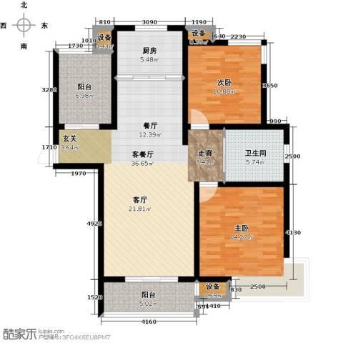华园星城2室1厅1卫1厨100.00㎡户型图