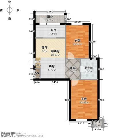 雯霆华苑2室1厅1卫1厨78.00㎡户型图