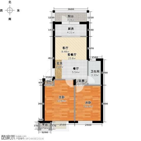 雯霆华苑2室1厅1卫1厨66.00㎡户型图