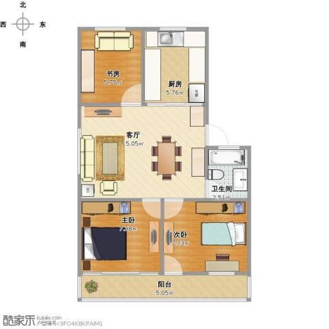 住友家园别墅3室1厅1卫1厨67.00㎡户型图