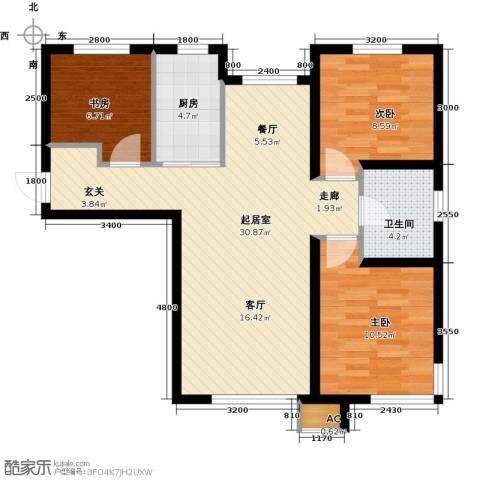 中铁万科香湖盛景3室0厅1卫1厨95.00㎡户型图