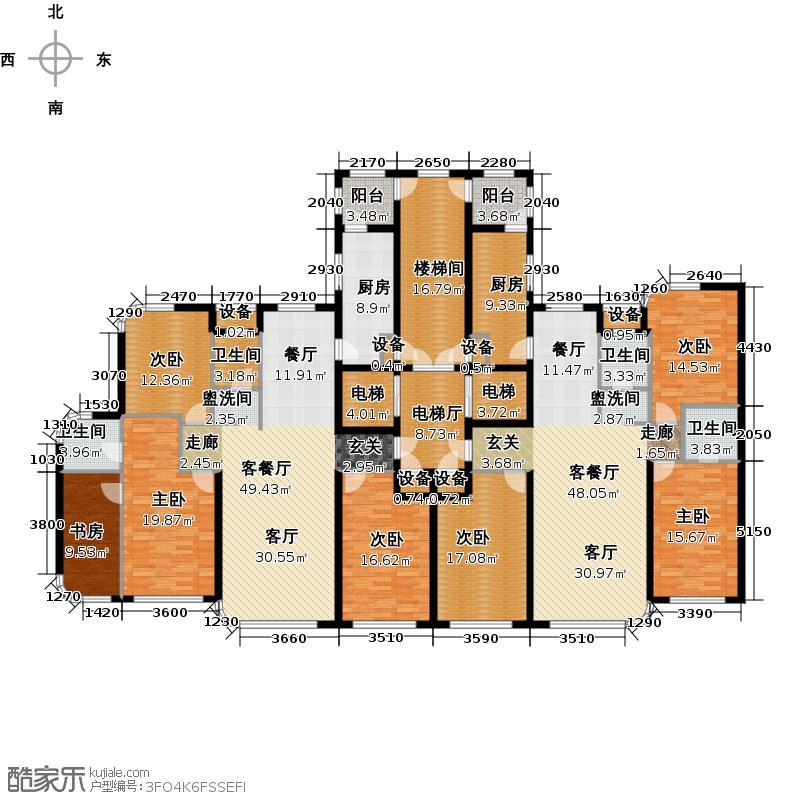 滨海假日172.25㎡十一#楼户型图户型4室2厅2卫