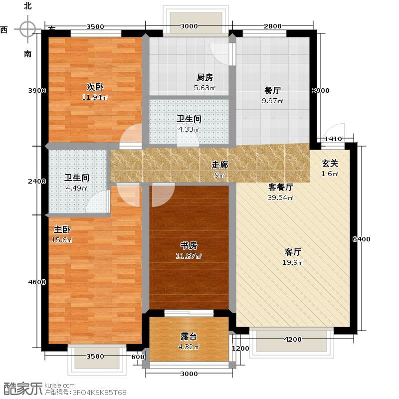 凯荣禧乐都122.00㎡E户型三室二厅一卫户型3室2厅1卫