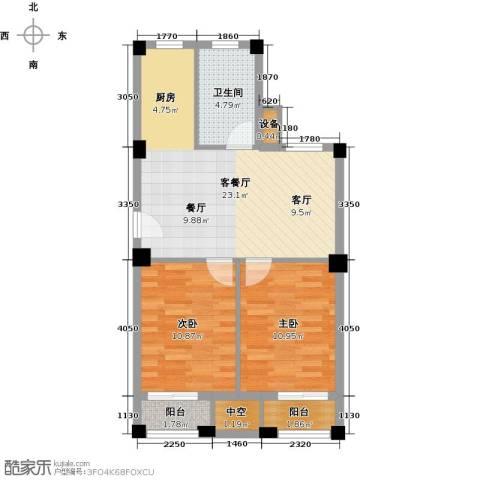 远洲国际城2室1厅1卫0厨77.00㎡户型图