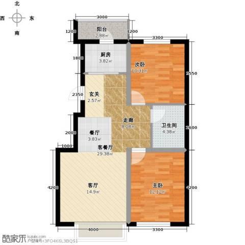 凯荣禧乐都2室1厅1卫1厨89.00㎡户型图