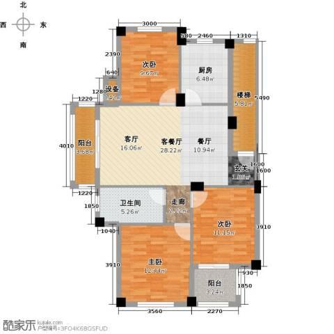 远洲国际城3室1厅1卫1厨97.00㎡户型图