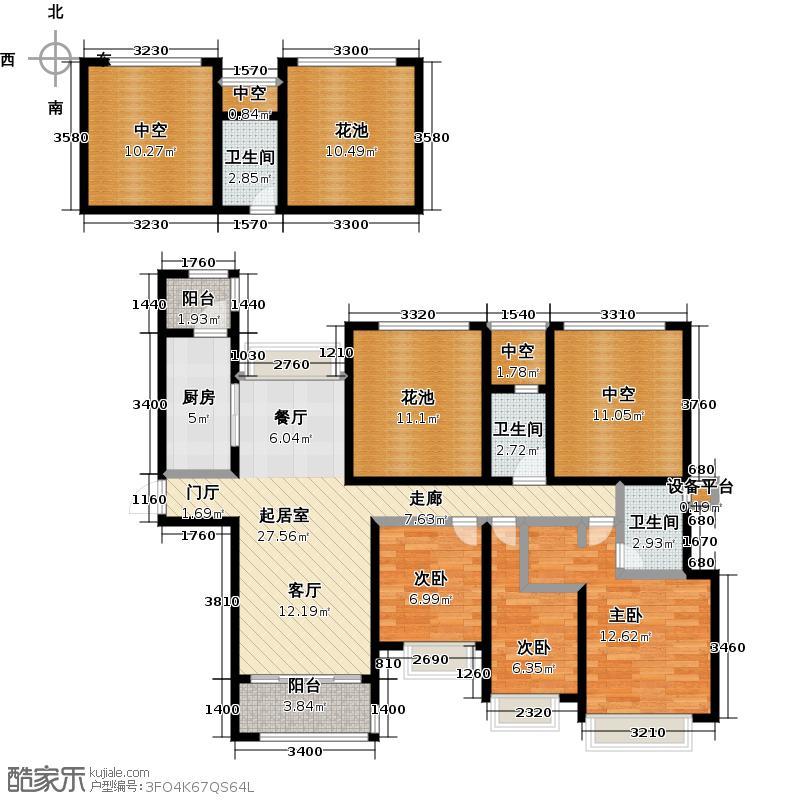 合景领峰138.00㎡D户型图三房两厅两卫138平米户型