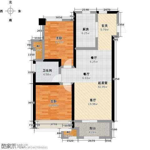 万科城2室0厅1卫1厨83.00㎡户型图