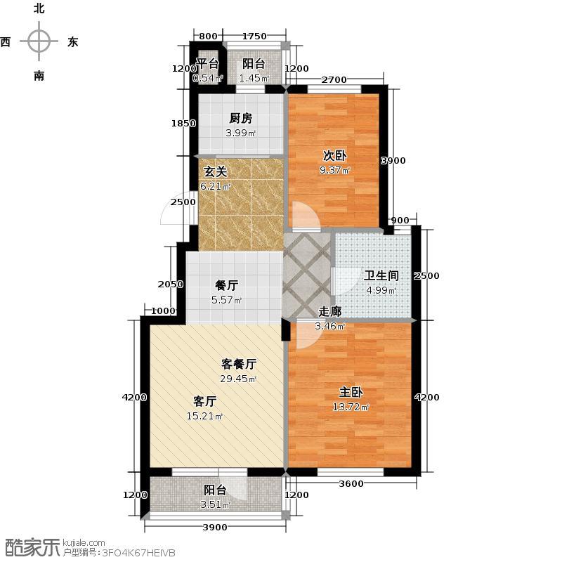 大港永安四季88.00㎡两室两厅一卫户型