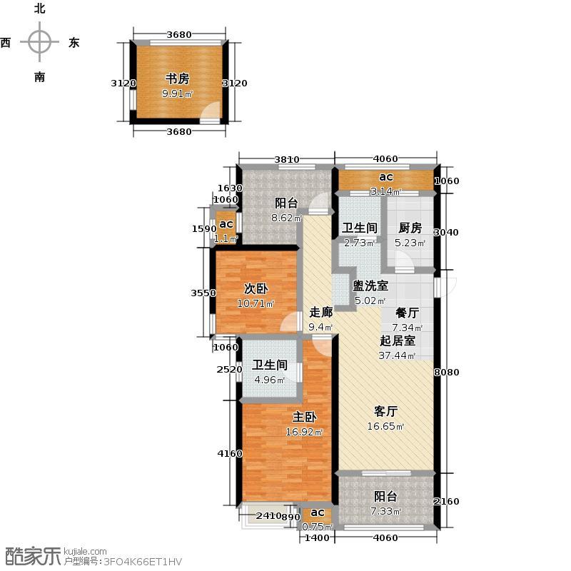 绿地香颂花园118.57㎡户型C悦溪花庭(2+1)房2厅2卫118.57㎡户型3室2厅2卫