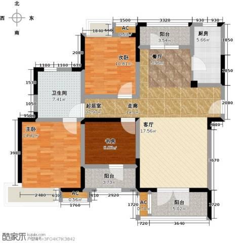 绿地中央广场3室0厅1卫1厨115.00㎡户型图