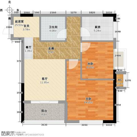 太奥广场2室0厅1卫1厨70.00㎡户型图