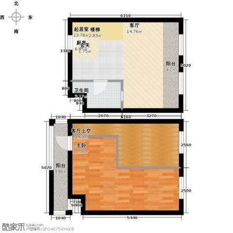 中海・御湖翰苑1室0厅1卫0厨66.00㎡户型图
