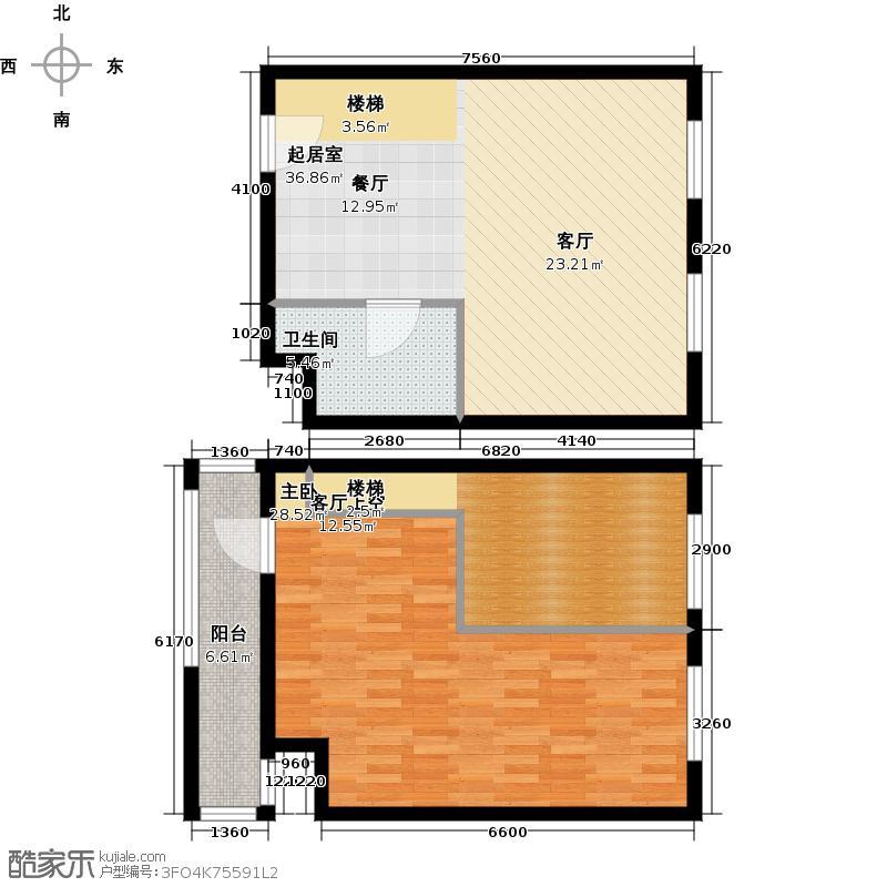 中海御湖翰苑E户型 66.32-66.91平米户型