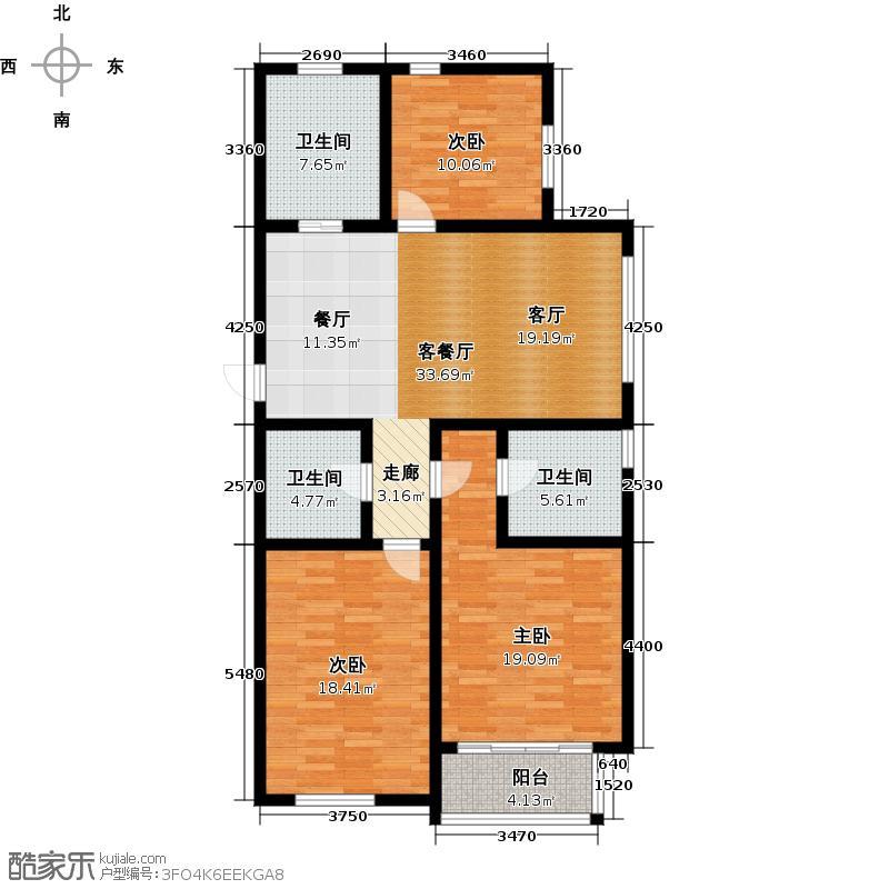 海情御园121.74㎡A4户型3室2厅2卫