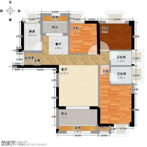 诚盛御庭3室0厅2卫1厨86.00㎡户型图