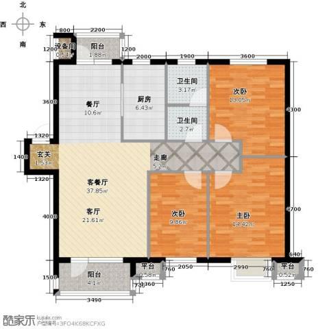 雯霆华苑3室1厅2卫1厨115.00㎡户型图