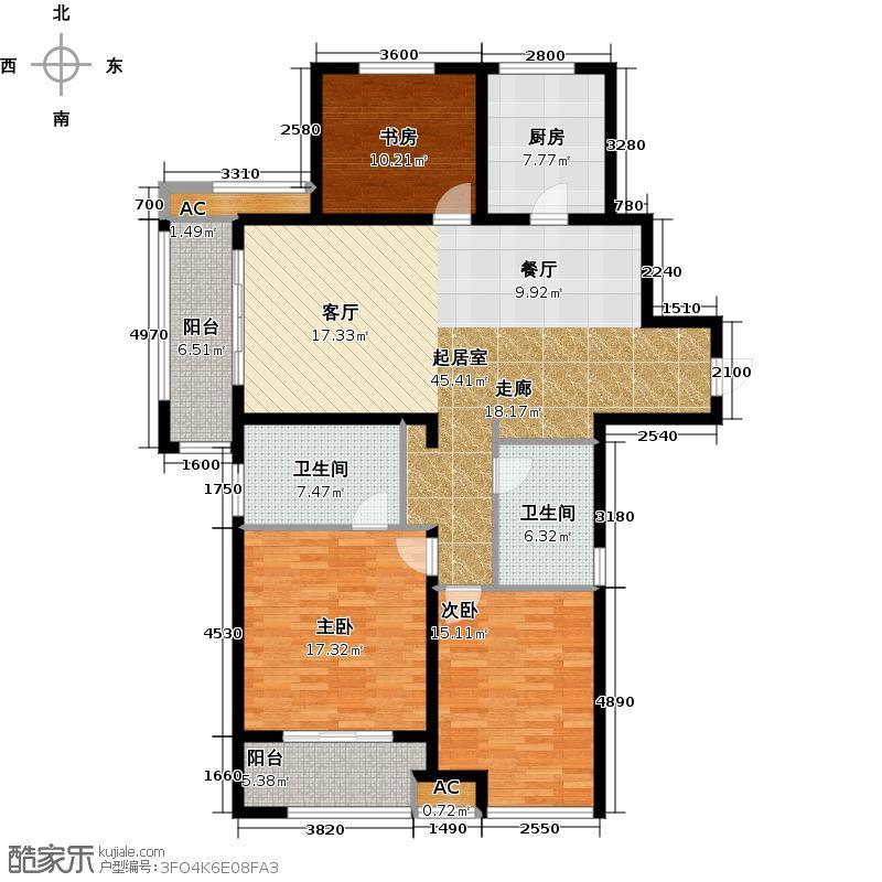 万科金域缇香137.00㎡御景王座户型3室2厅2卫