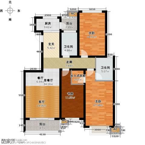领世公馆3室1厅2卫1厨148.00㎡户型图