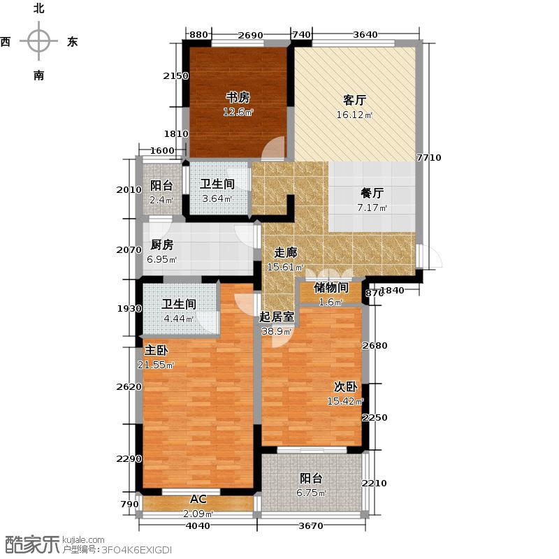 恒威中央领地129.00㎡4号楼03室户型2室2厅1卫