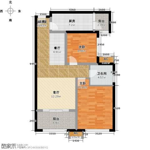 太奥广场2室0厅1卫1厨87.00㎡户型图