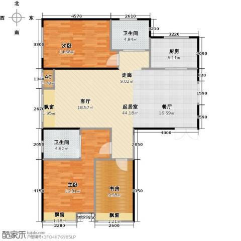 振业城中央3室0厅2卫1厨136.00㎡户型图