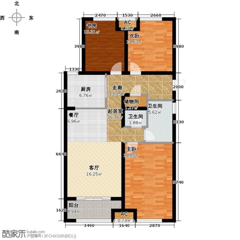 万科金域缇香110.00㎡南地块C户型 三室两厅一卫户型3室2厅1卫