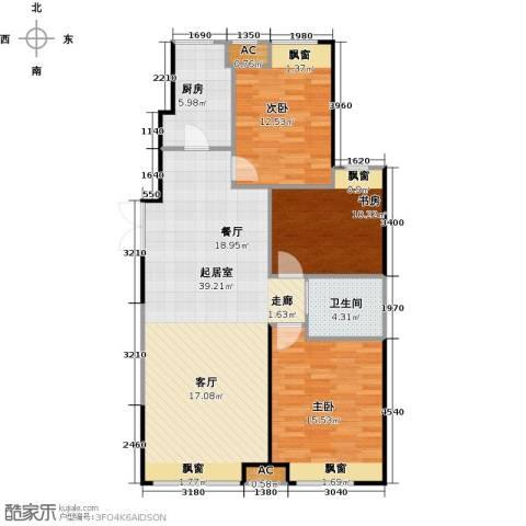 振业城中央3室0厅1卫1厨131.00㎡户型图