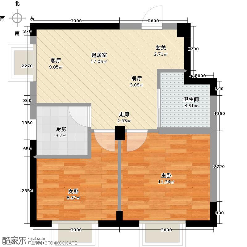 丽水金阳62.00㎡赞域E3户型2室2厅1卫QQ