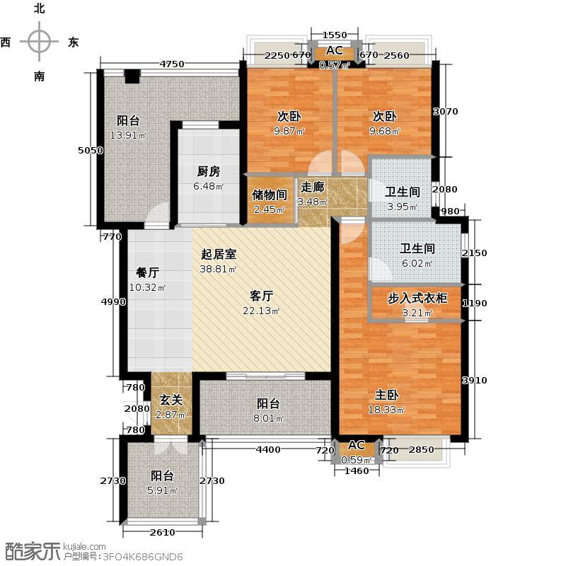 万科金域缇香144.00㎡D2户型3室2厅2卫