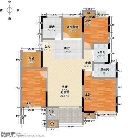 恒大晶筑城3室0厅2卫1厨123.00㎡户型图